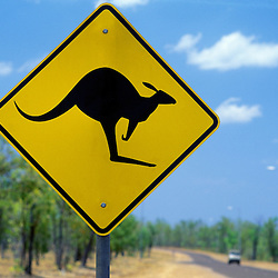 """Caution Kangaroos Crossing"" road sign, Stuart Highway, Darwin, Australia"