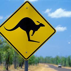 """Caution Kangaroos Crossing"" road sign, Stuart Highway, Darwin, Australia"