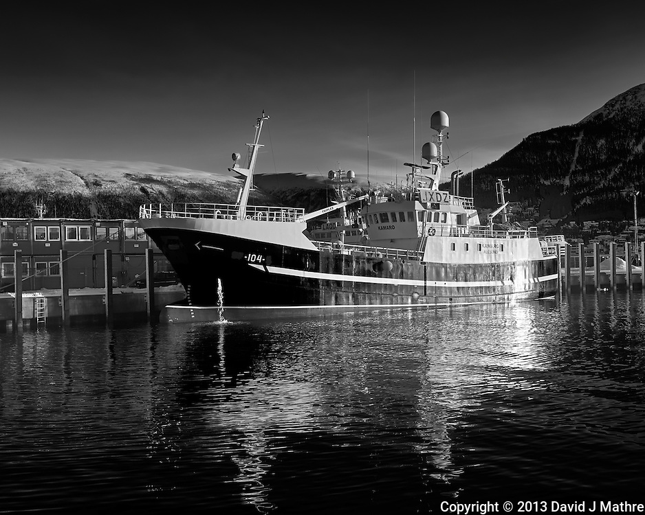 Kamaro fishing trawler docked in Tromsø, Norway. Image taken with a Leica X2 camera (ISO 100, 24 mm, f/5.6, 1/200 sec). Raw image processed with Capture One Pro (including conversion to B&W).