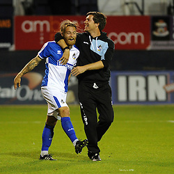 Stuart Sinclair of Bristol Rovers celebrates with Bristol Rovers Manager Darrell Clarke - Mandatory byline: Neil Brookman/JMP - 07966386802 - 18/08/2015 - FOOTBALL - Kenilworth Road -Luton,England - Luton Town v Bristol Rovers - Sky Bet League Two