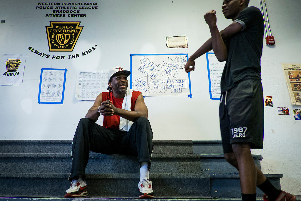 The Western Pennsylvania branch of the Police Athletic League runs a boxing program in the basement of the Braddock Community Center, which used to be a church.<br /> <br /> The program is free to everyone between the ages 8 and 18 and anyone currently attending high school. Its goal is to create relationships between volunteers and local kids, to help steer them away from crime, violence and drugs and be surrounded by positive influences.<br /> <br /> With a population of just over 2,000 (down from a high of 20,879 at the height of the steel industry, Braddock is almost a ghost town even though it is the home of the last steel mill still in operation in the Monongahela River valley. The Edgar Thompson Steel Works, built in 1872, was the first major steel mill built in the United States. Braddock was originally built to house the mill&rsquo;s workers, but none of the mill&rsquo;s nine hundred or so employees live there.