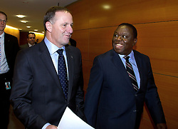 The Prime minister of Zimbabwe (R Dr the Rt Hon Morgan Tavangirai arrives with the Prime Minister of New Zealand John Key before a joint press conference at the Beehive, Wellington, New Zealand, Wednesday, July 25, 2012. Credit:SNPA / Marty Melville