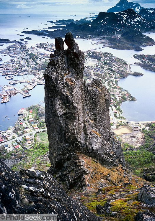 "The ""Svolvær Goat"" rises to 1955 feet elevation on the Lofoten Islands, above the Arctic Circle, Norway. 1981 photo."