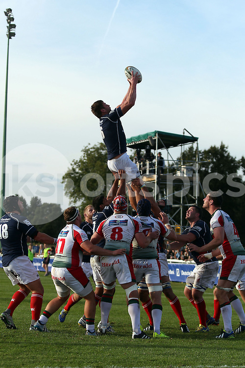 Neil Best collects this line-out during the Green King IPA Championship match between London Scottish &amp; Plymouth Albion at Richmond, Greater London on Sunday 5th October 2014<br /> <br /> Photo: Ken Sparks | UK Sports Pics Ltd<br /> London Scottish v Plymouth Albion, Green King IPA Championship,5th October 2014<br /> <br /> &copy; UK Sports Pics Ltd. FA Accredited. Football League Licence No:  FL14/15/P5700.Football Conference Licence No: PCONF 051/14 Tel +44(0)7968 045353. email ken@uksportspics.co.uk, 7 Leslie Park Road, East Croydon, Surrey CR0 6TN. Credit UK Sports Pics Ltd