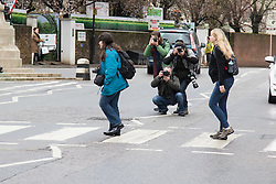 Abbey Road Studios, St John's Wood, London March 9th 2016. Beatles fans, tourists and the media gather outside Abbey Road Studios in London to remember Sir George Martin, who was often referred to as the fifth Beatle. &copy;Paul Davey<br /> FOR LICENCING CONTACT: Paul Davey +44 (0) 7966 016 296 paul@pauldaveycreative.co.uk