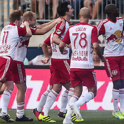 New York Red Bulls Midfielder SACHA KLJESTAN (16), center, and his team mates celebrates a goal in the first half of a Major League Soccer match between the Philadelphia Union and New York Red Bulls Sunday, July. 17, 2016 at Talen Energy Stadium in Chester, PA.