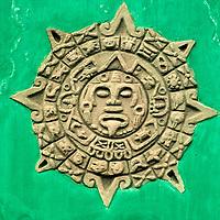 Central America, Guatemala, Antigua. Mayan calendar adorns facade in Antigua, Guatemala.