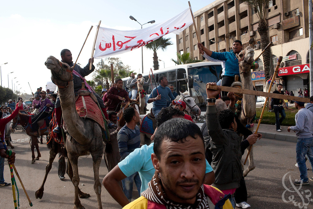 Egyptian men on camels and horseback protest in the Giza district of Cairo, Egypt January 31, 2010. The men, who work as touts at the pyramids were protesting low wages and corruption of local officials in charge of the Pyramids tourist area.
