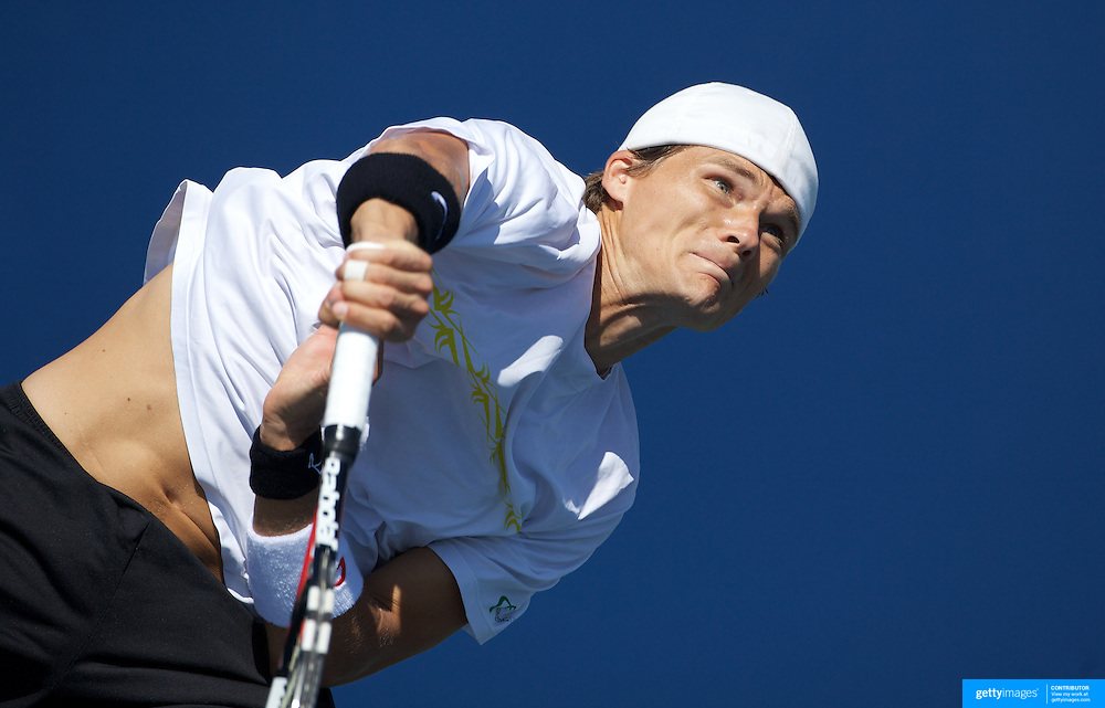Peter Luczak, Australia, in action against Viktor Troicki, Serbia, during the first round match match in the US Open Tennis Tournament at Flushing Meadows, New York, USA, on Tuesday, September 1, 2009. Photo Tim Clayton.