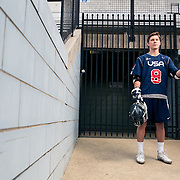 April 28, 2016; Baltimore, MD, USA; Johns Hopkins Blue Jays and U-19 Team USA defender Patrick Foley poses for a portrait at Historic Homewood Field on campus in Baltimore, MD.<br /> <br /> Credit:<br /> Brian Schneider-www.ebrianschneider.com<br /> Instagram - @ebrianschneider<br /> Twitter - @brian_schneider<br /> Facebook - @ebrianschneider