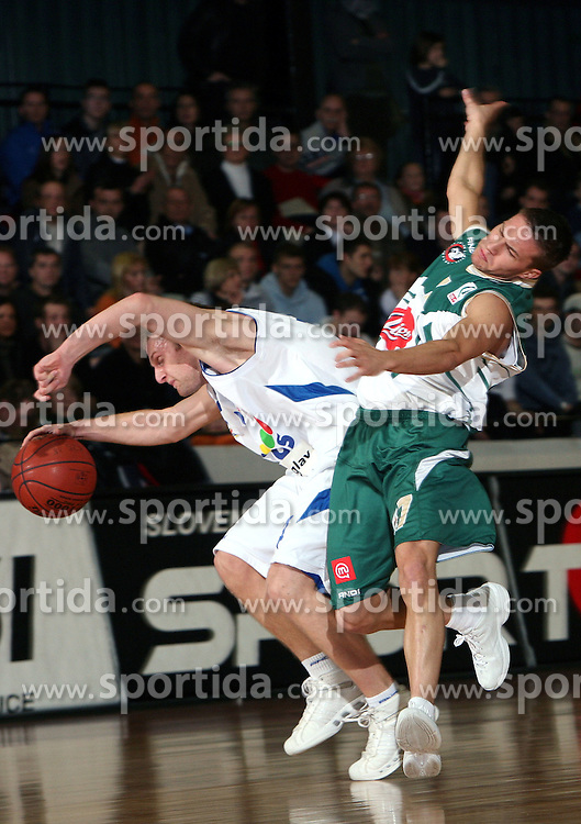Jure Mocnik of Helios DOmzale (L) and Jan Mocnik of Union Olimpija (R) during the final match of Spar Cup 2007-08 between Union Olimpija, Ljubljana, Slovenia, and Helios Domzale, Slovenia, on February 10, 2008, in Arena Kodeljevo, Ljubljana, Slovenia. Match and Cup was won by Union Olimpija, who defeated Helios Domzale in final match with 85:66. (Photo by Vid Ponikvar / Sportal Images).