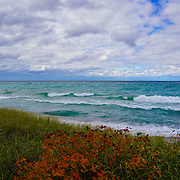 &quot;Colors of Maple on Lake Superior&quot; <br /> <br /> Enjoy the amazing colors of the beautiful blues and greens of the waters of Lake Superior. Feel the movement of the clouds above, and relish in the contrast of fall color against the greens of the sand grass on a windy autumn day!