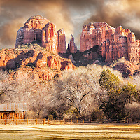 Sun setting on Cathedral Rock, Sedona Arizona.