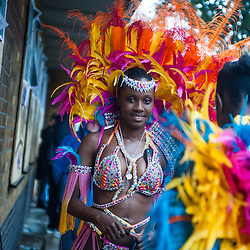 London, UK - 25 August 2014: a reveller during the Notting Hill Carnival in London.
