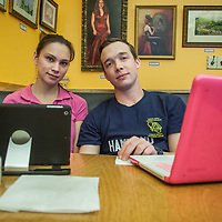 "Nurse Jacqueline Kolkebeck and EMT student, Jesse Hammond , study at Roaster's Coffe Shop in downtown Calistoga  ""We like Calistoga because its close to work and school.  For young people, Calistoga is a bit sleepy."""