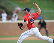 Mississippi's Brett Huber (38) pitches vs. St. John's during an NCAA Regional game at Davenport Field in Charlottesville, Va. on Sunday, June 6, 2010.