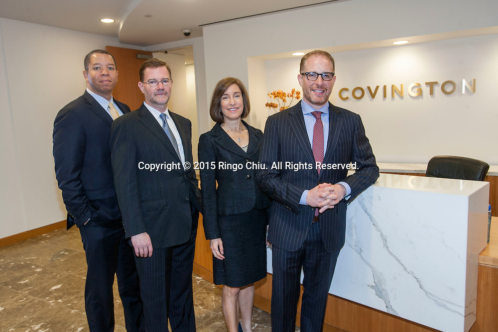 The new lawyers Aron Lewis, Rene Siemens, Robyn Polashuk, and Dan Shallman at Covington &amp; Burling.<br /> (Photo by Ringo Chiu)
