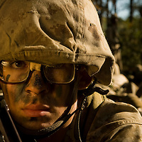 Marine Corps recruit Eric VanSparrentak watches his perimeter during training at Parris Island, S.C., on Nov. 24, 2007. (Photo by Stacy L. Pearsall)