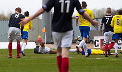 Falkirk's Lyle Taylor brought down for a penalty by Morton's Craig Reid..Falkirk 4 v 1 Morton, 4/5/2013..© Michael Schofield..