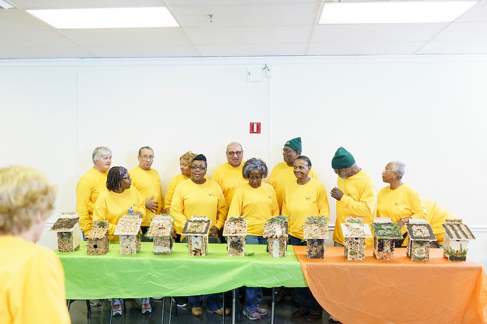 Upper Marlboro, Maryland - January 03, 2017: Members of the Senior Green Team stand in front of the birdhouses they built and decorated at the Watkins Park Nature Center in Upper Marlboro, Md., Tuesday January 3, 2017. Three judges will decide the group's top birdhouses. The group meets the first Tuesday morning of each month and works on nature beautification projects like trail maintenance, tree planting, clean ups, and, educational outings. <br /> <br /> CREDIT: Matt Roth