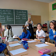 """EGYPT, CAIRO: At the private prestigious German school """"Deutsche Schule der Borromäerinnen"""" pupils can make the German Abitur that enables them to study in Germany or Europe in general. Beside the German and also the Egyptian curriculum they also have special interest classes in the afternoon, like circus, singing, footbal among others. The school is run by catholic nuns, but the students are Muslims and Christians. It is a girls only school."""