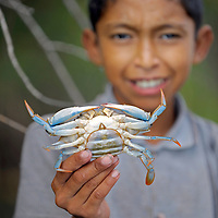 Lago Izabal, Guatemala 21 May 2008<br /> A Guatemalan boy shows a Jaiba, a kind of crab in the Izabal Lake.<br /> Lago de Izabal, also known as the Golfo Dulce, is the largest lake in Guatemala. The Polochic river is the largest river that drains into the lake. The lake drains into the Caribbean Sea through the smaller Golfete Dulce and the Rio Dulce. The well preserved colonial Castillo de San Felipe de Lara guarded this lake against the pirates attacks, and there are some ancient sunken ships nearby.<br /> It has a surface area of 589.6 square kilometres.<br /> Photo: Ezequiel Scagnetti