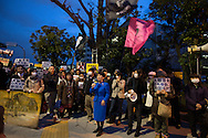 Mizuho Fukushima, Chair of the Social Democratic Party, speaks at an anti-nuclear demonstration, and protest against the proposed restarting of the Oi nuclear plant in Fukui, in the streets outside the Prime Minister's residence and government buildings, in Tokyo Japan on Friday 6th April 2012. Japan has also announced new safety measures for the restarting of nuclear plants which are currently offline undergoing safety checks and tests.