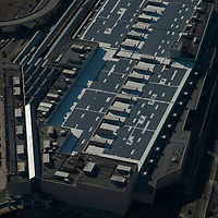 Aerial view of Solar Panels, Alternative Energy,on the roof of the atlantic city convention center.