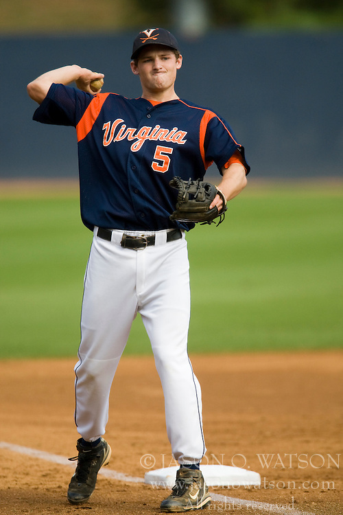 Virginia Cavaliers INF Phil Gosselin (5)..The Virginia Cavaliers baseball team held a seven game Orange and Blue World Series at Davenport Field in Charlottesville, VA.  Images are from Game 6 held on October 22, 2007.
