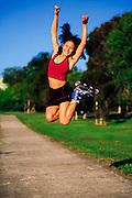 Inline skater jumping for joy