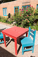 Red Table and Turquoise Patio Chairs, Old Town Albuquerque, New Mexico