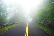 A foggy view along the Blue RIdge Parkway, North Carolina
