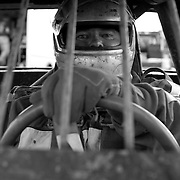 Scott Morgan/The Hawk Eye.John Brockway of Morning Sun sitting in the #9b car waiting for the start of the heat race...Saturday Aug. 12, 2006 at the 34 Raceway in Middletown, Iowa.