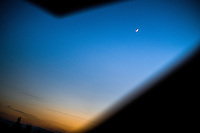 Boothferry, Hull, East Yorkshire, United Kingdom, 02 May, 2014. Pictured: The Moon through my office skylight,