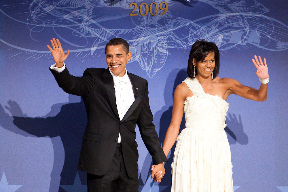 WASHINGTON - JANUARY 21: President Barack Obama and First Lady Michelle Obama appear at the Southern Inaugural Ball on January 21, 2009 in Washington, DC. Obama was sworn in as the 44th President of the United States, becoming the first African American to be elected President of the US. (Photo by Brendan Hoffman/Getty Images) *** Barack Obama;Michelle Obama