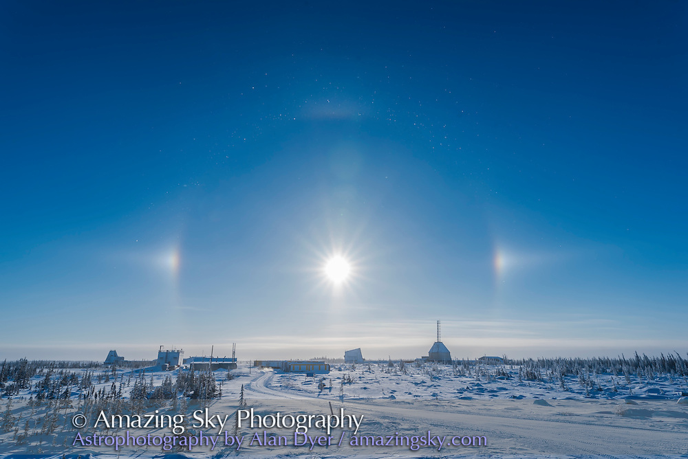 Sundogs over the old Churchill Rocket Range, Churchill, Manitoba on a clear and cold winter day with ice crystals in the air. With the 20mm SIgma lens.