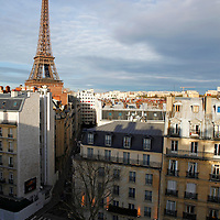 Europe, France, Paris. Eiffel Tower view from Avenue Rapp.