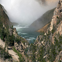 WY00600-00...WYOMING - The base of Lower Yellowstone Falls on the Yellowstone River in Yellowstone National Park.