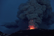 Iceland's Eyjafjallajokull during it's eruption, spewing lava and ash cloud that drift toward continental Europe. 09 May 2010. © Etienne de Malglaive.