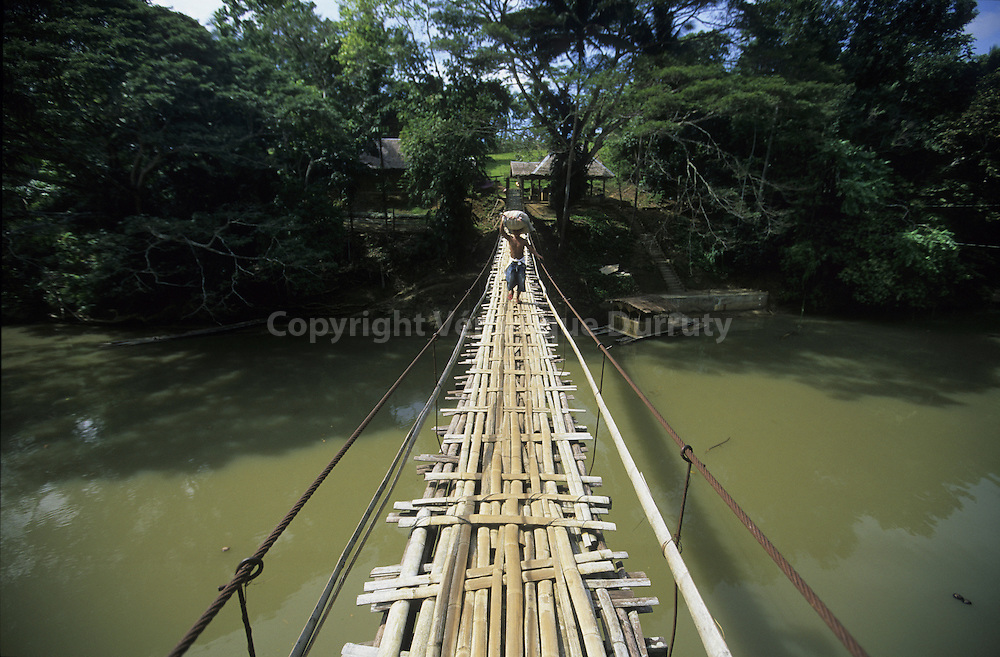 HANGING BAMBOO BRIDGE OVER THE LOBOC LOAY RIVER, BOHOL ISLAND, THE VISAYAS, THE PHILIPPINES