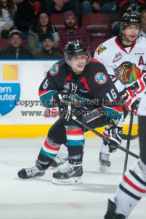KELOWNA, CANADA - NOVEMBER 22: Kris Schmidli #16 of Kelowna Rockets skates against the Portland Winterhawks on November 22, 2014 at Prospera Place in Kelowna, British Columbia, Canada.  (Photo by Marissa Baecker/Shoot the Breeze)  *** Local Caption *** Kris Schmidli;