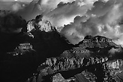 Vishnu Temple in the clouds. Grand Canyon National Park.