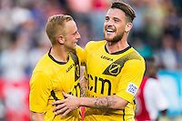 BREDA - NAC - Jong Ajax , Voetbal , Seizoen 2015/2016 , Jupiler league , Rat Verlegh Stadion , 21-08-2015 , NAC Breda speler Kevin Brands (r) scoort de 2-0 en viert dit met NAC Breda Sjoerd Ars (l)