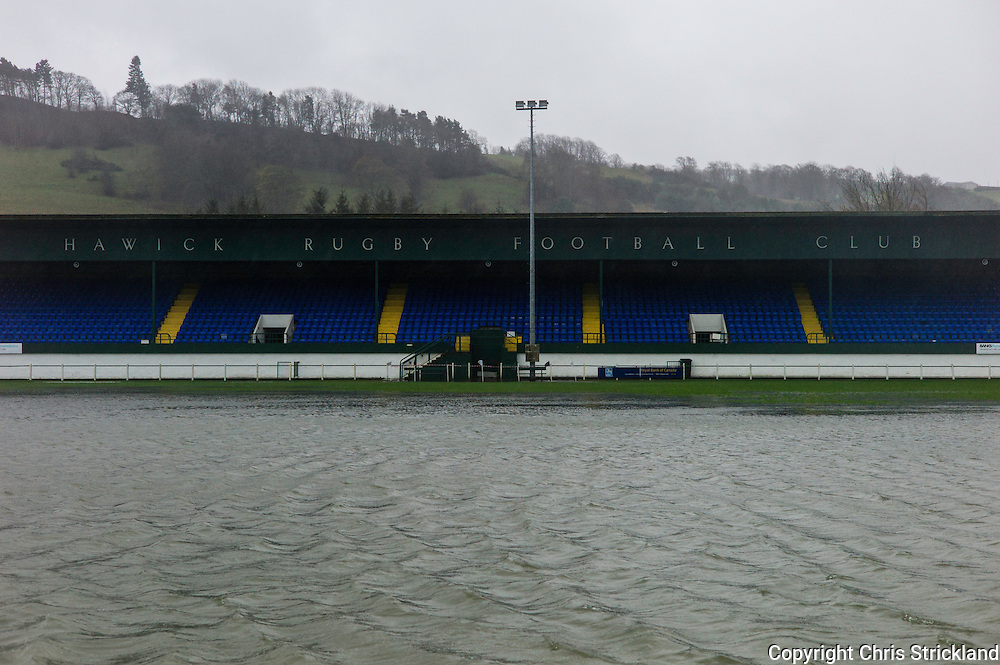 Mansfield Road, Hawick, Scotland, UK. 5th December 2015. The River Teviot spreads into the periphery of Hawick, including the local Rugby club. Many residents have been evacuated from their homes in preparation for floods.