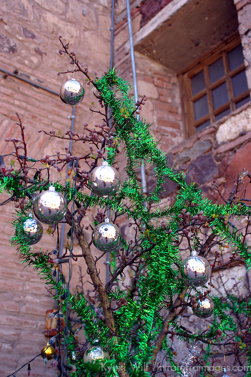 Americas, Mexico, Baja California Sur, Loreto. Christmas decor at the Jesuit Mission of Our Lady of Loreto, the oldest and first of the California missions, established 1697.