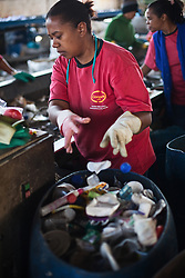 Workers at Coopere, recycling the garbage. .São Paulo, SP, Brazil)