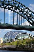 Sage Gateshead seen below the Tyne Bridge over the river Tyne, Newcastle