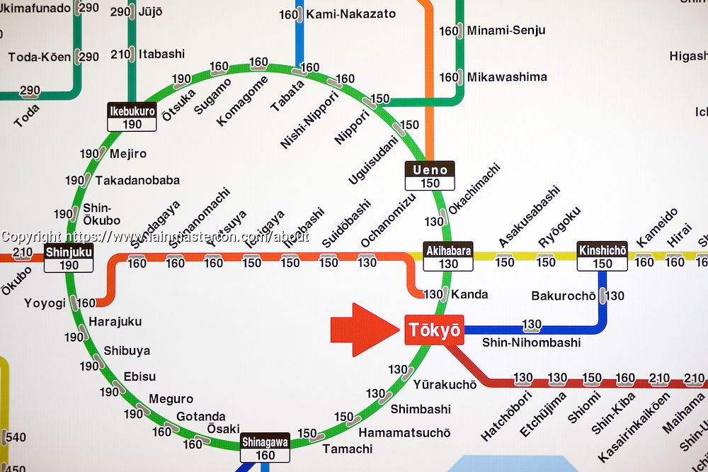 Detail of Tokyo subway map in station