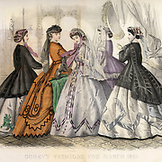 Vintage Illustration: Godey's Fashion magazine March 1866