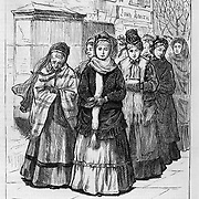 """Vintage Illustration:  """"Here They Come"""" Praying and Protesting drunkenness at saloons (led by Mrs. Col. Lowe).   Woman's crusade against intemperance later known as The  Woman's Christian Temperance Union (WCTU). The scene is illustrated by Mrs. C. S. Reinhart of the events in Xenia, Ohio. .  Harper's Weekly 1874"""
